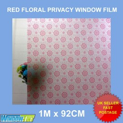 Red Floral Frosted Decorative Window Film