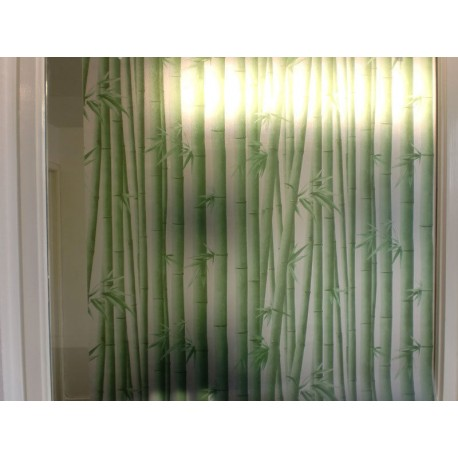 Green Bamboo Frosted Privacy Window Film