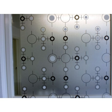 Black & White Shapes Frosted Privacy Window Film