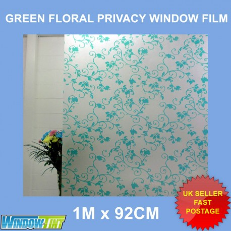 Green Floral Frosted Privacy Window Film