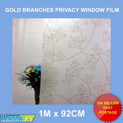 Gold Branches Frosted Privacy Window Film