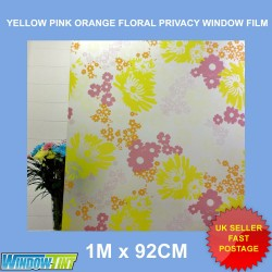 Yellow Pink Orange Floral Frosted Privacy Window Film