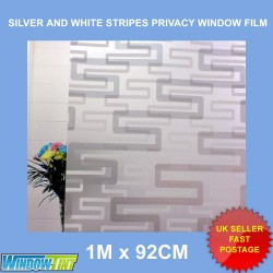 Silver & White Stripes Frosted Privacy Window Film