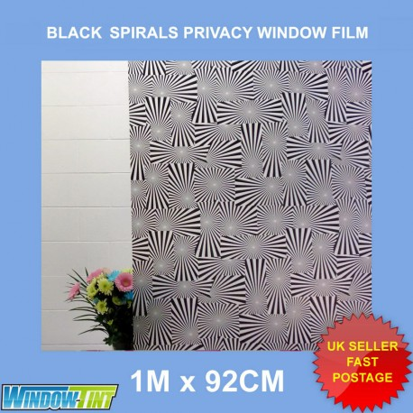 Black Spirals Frosted Privacy Window Film