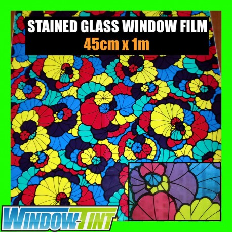 Floral Pink Blue Yellow Stained Glass Window Film