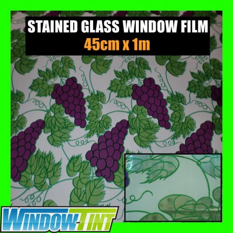 Grapevine Stained Glass Privacy Window Film