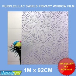 Purple Lilac Swirls Frosted Privacy Window Film