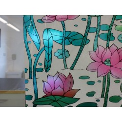 Pink Floral Stained Glass Window Film