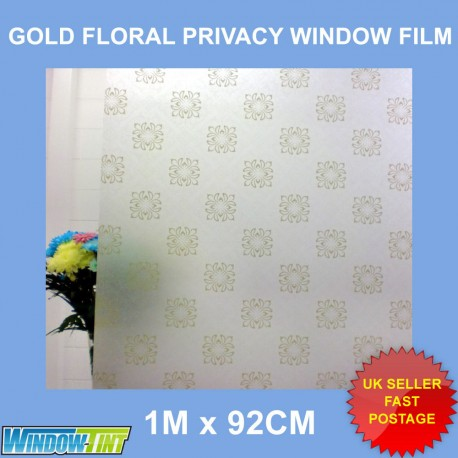 Gold Floral Frosted Decorative Window Film