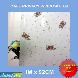 Cafe Coffee Beans Frosted Decorative Window Film