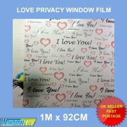I Love You Hearts Frosted Decorative Window Film