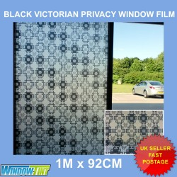 Black Victorian Decorative Privacy Window Film