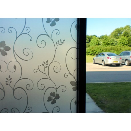 Black Floral Decorative Window Film