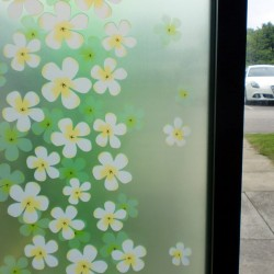 Green White Floral Frosted Decorative Window Film