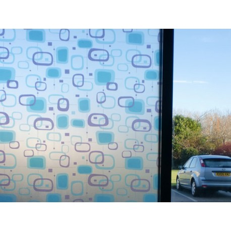 Blue Purple Shapes Decorative Frosted Window Film