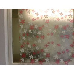Pink And White Floral Frosted Window Film