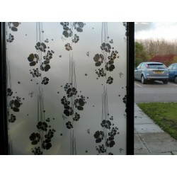 Black Floral Frosted Decorative Window Film