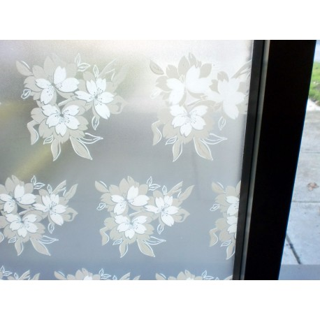 White And Grey Floral Frosted Window Film