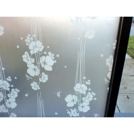 White Floral Frosted Decorative Window Film