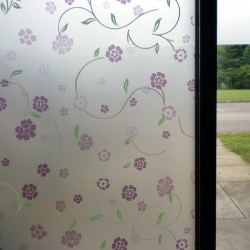 Purple Floral Frosted Privacy Decorative Window Film