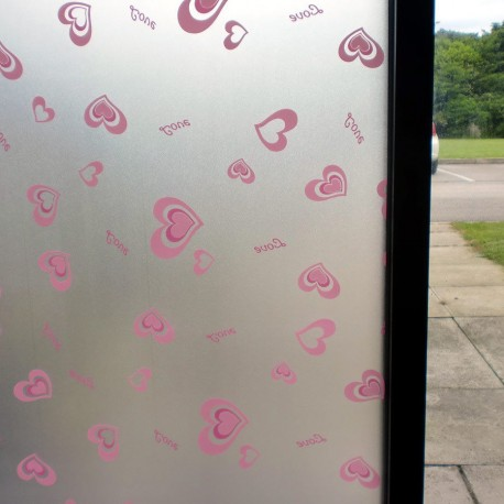 Pink Love Hearts Frosted Privacy Decorative Window Film