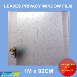 Green Leaves Frosted Privacy Window Film