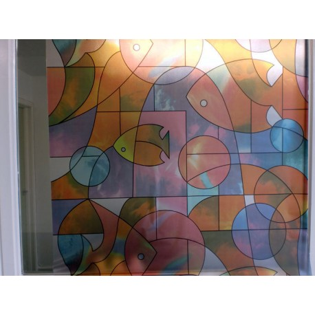 Stained Glass Effect Goldfish Frosted Window Film