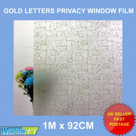 Gold Letters Frosted Decorative Window Film